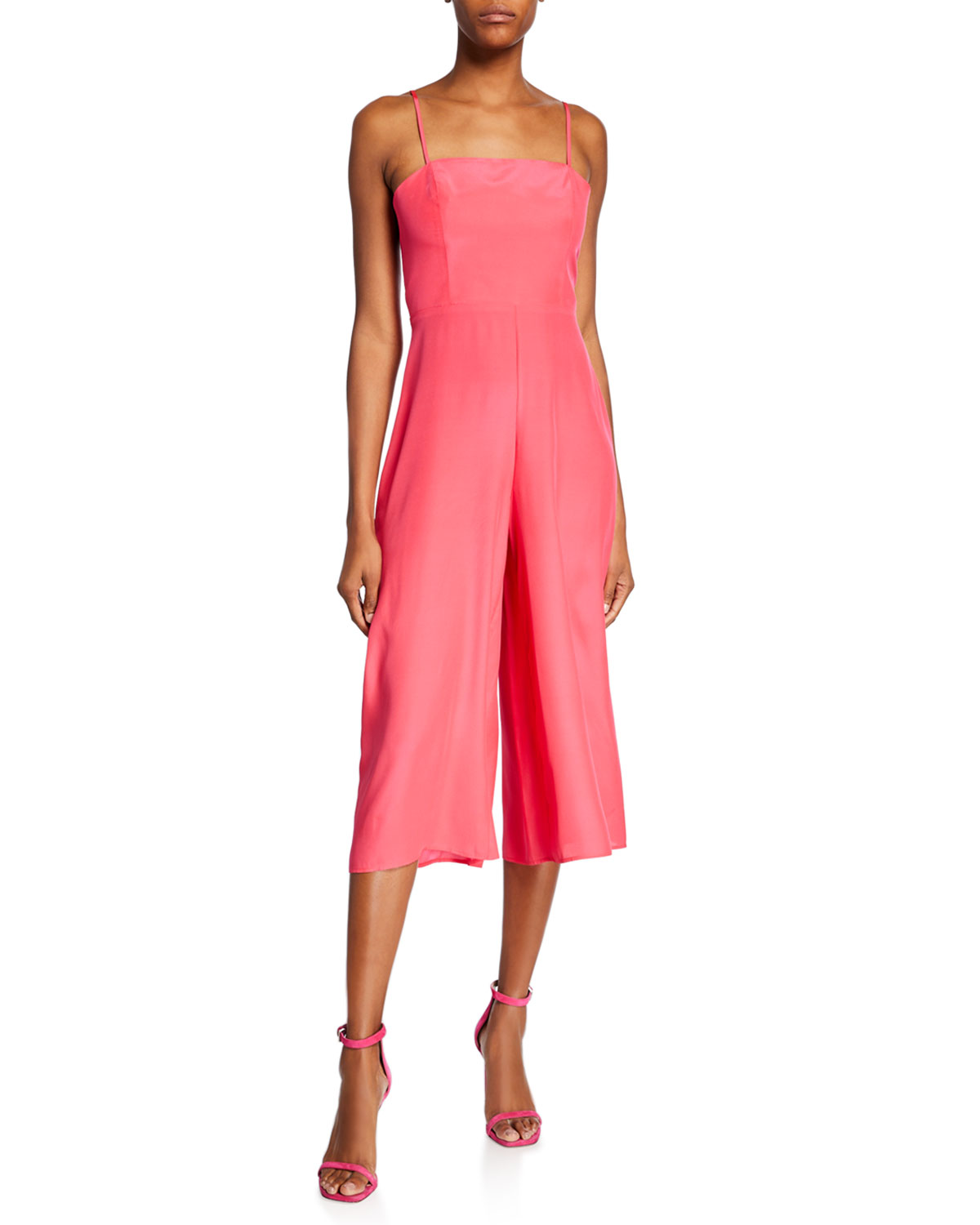 Amanda Uprichard Izzy Spaghetti-Strap Wide-Leg Cropped Silk Jumpsuit In Electric Rouge
