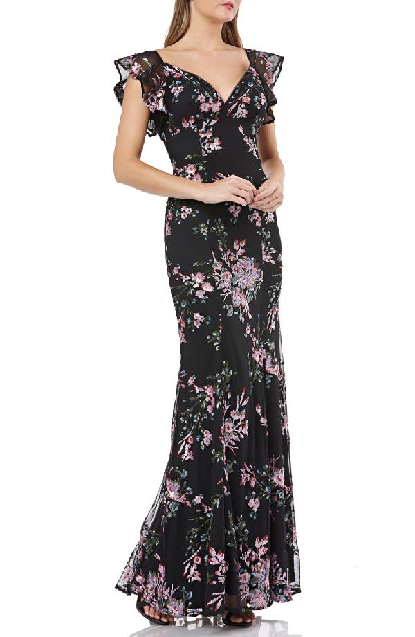 d7991c4418c62 Carmen Marc Valvo Infusion Sequin Floral-Motif Flutter-Sleeve Gown In  Black/ Fuchsia