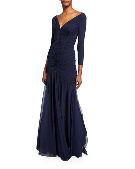 6420ba14 CHIARA BONI LA PETITE ROBE. Dikta V-Neck 3/4-Sleeve Shirred Mermaid Gown ...