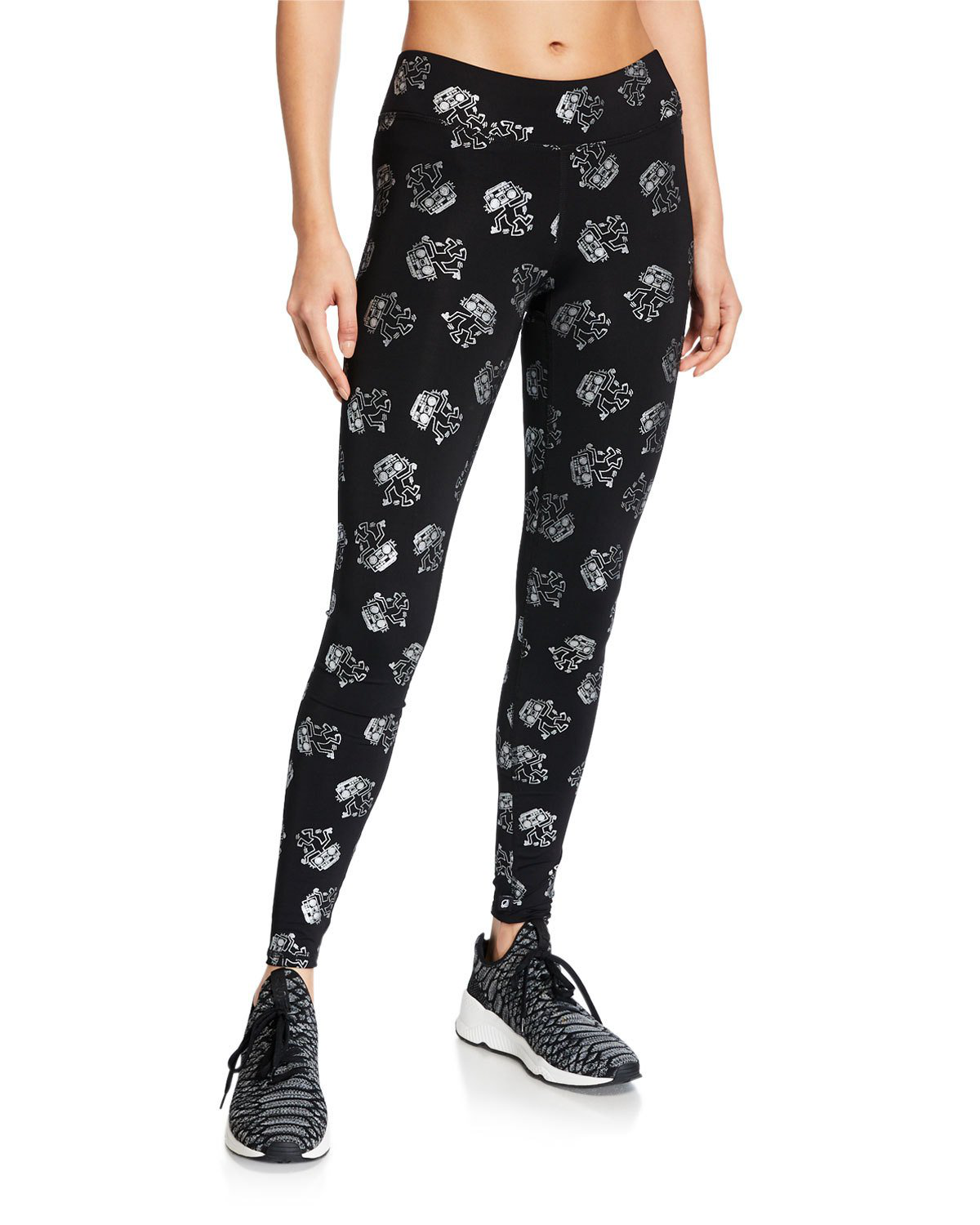 433337a5f37a5 Terez X Keith Haring Tall Band Leggings In Black/Silver | ModeSens