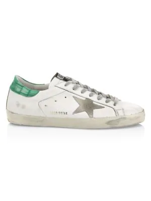 Golden Goose Men's Superstar Leather Low-Top Sneakers In White Green