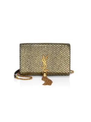35435a4b44f Saint Laurent Kate Monogram Tassel Python-Embossed Leather Shoulder Bag In  Gold