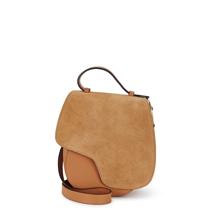 Atp Atelier Carrera Brown Leather Saddle Bag In Tan