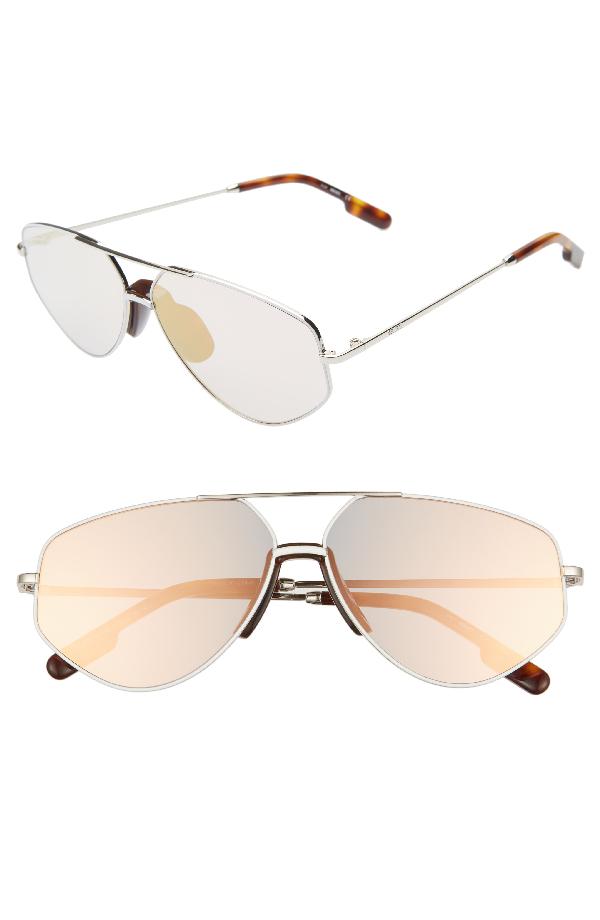 Kenzo Women's Mirrored Brow Bar Aviator Sunglasses, 61mm In Shiny Rhodium/ Pink