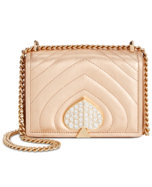Kate Spade Amelia Small Jeweled Leather Shoulder Bag In Rose Gold/Gold