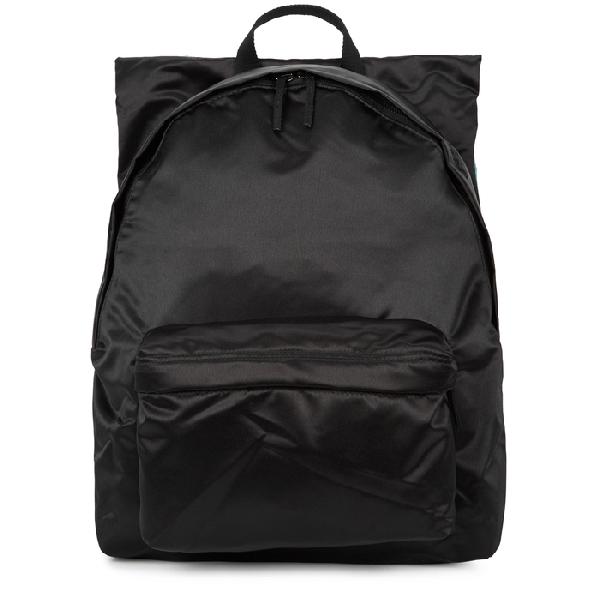 Eastpak Raf Simons Poster Padded Satin Boy Backpack In Black Cotton Couple White