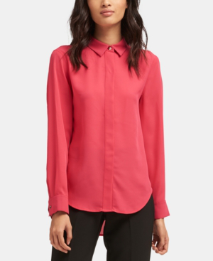 Dkny High-Low Utility Shirt In Hibiscus