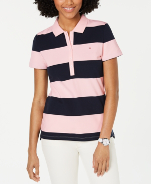 Tommy Hilfiger Striped Polo Top In Pink & Sky Captain