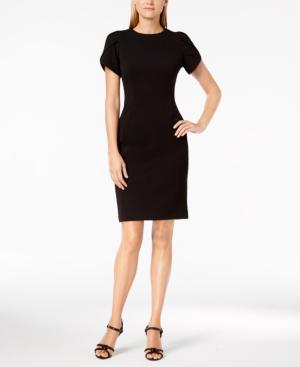 Calvin Klein Tulip-Sleeve Sheath Dress In Black