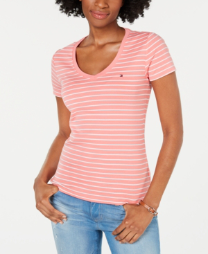 Tommy Hilfiger Cotton Striped Logo-Accent Top, Created For Macy's In Rose And White
