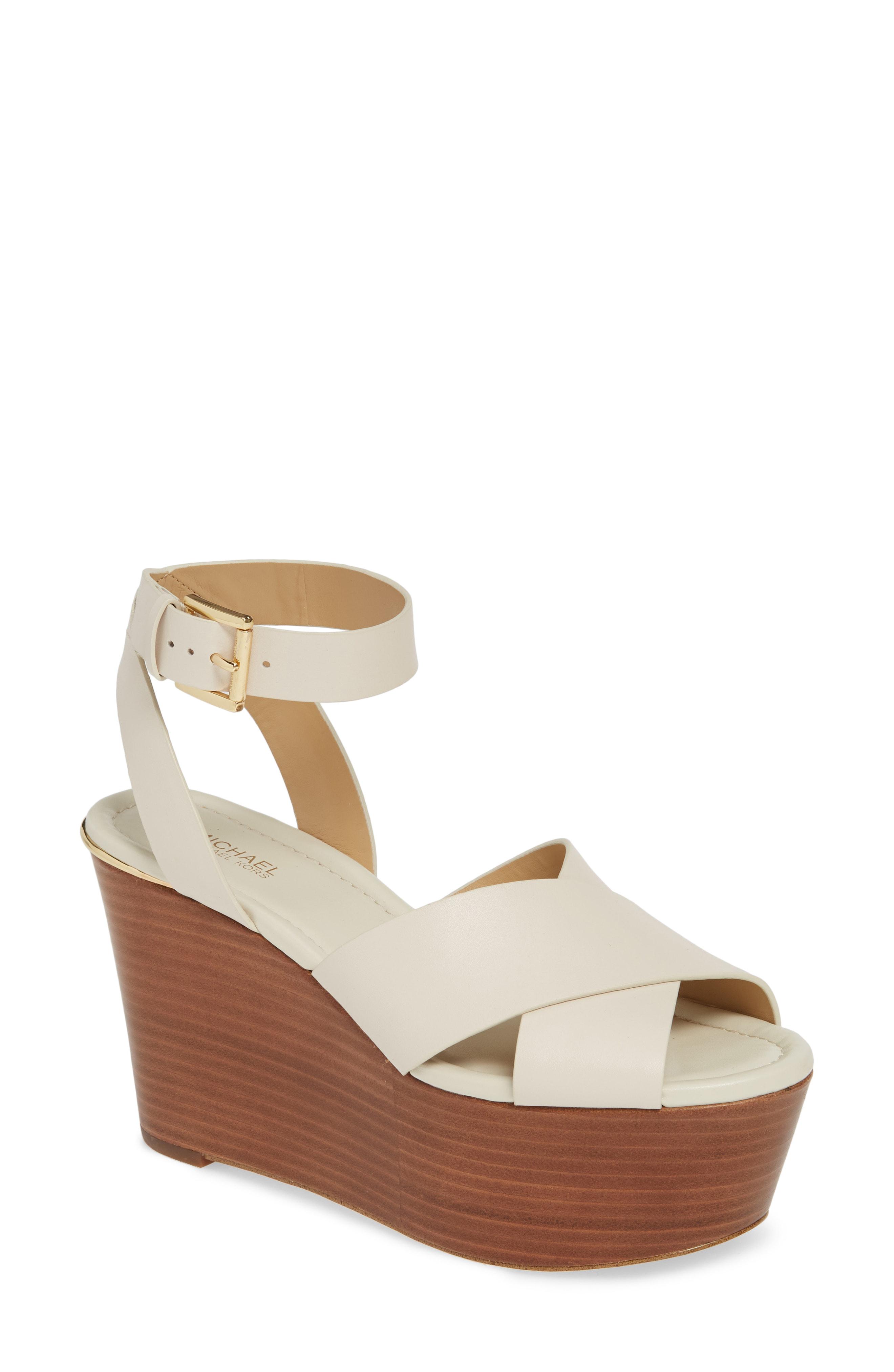 97571eb02292d Michael Michael Kors Abbott Platform Wedge Sandal In Cream Vachetta Leather