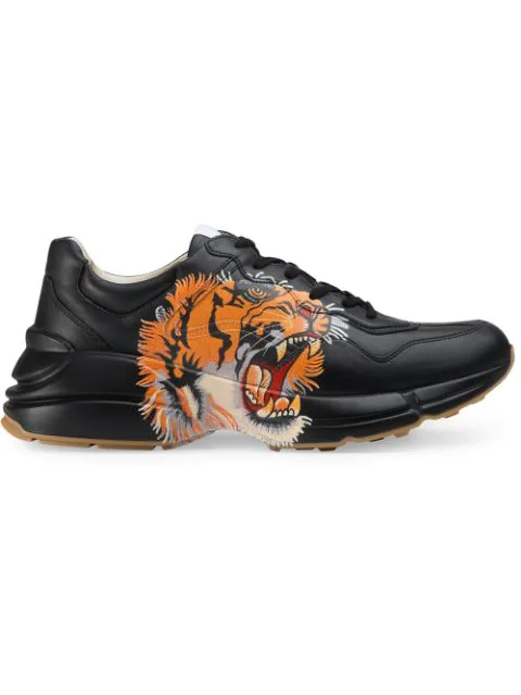 Gucci Rhyton Leather Sneaker With Tiger In Black