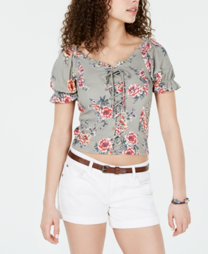 Almost Famous Crave Fame Juniors' Printed Lace-Up Corset Top In Sage Red