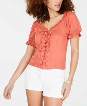 Almost Famous Crave Fame Juniors' Lace-Up Corset Top In Coral