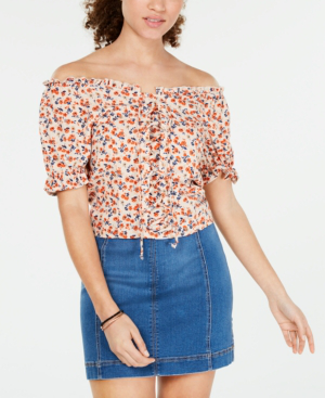 Almost Famous Crave Fame Juniors' Printed Lace-Up Corset Top In Taupe Red