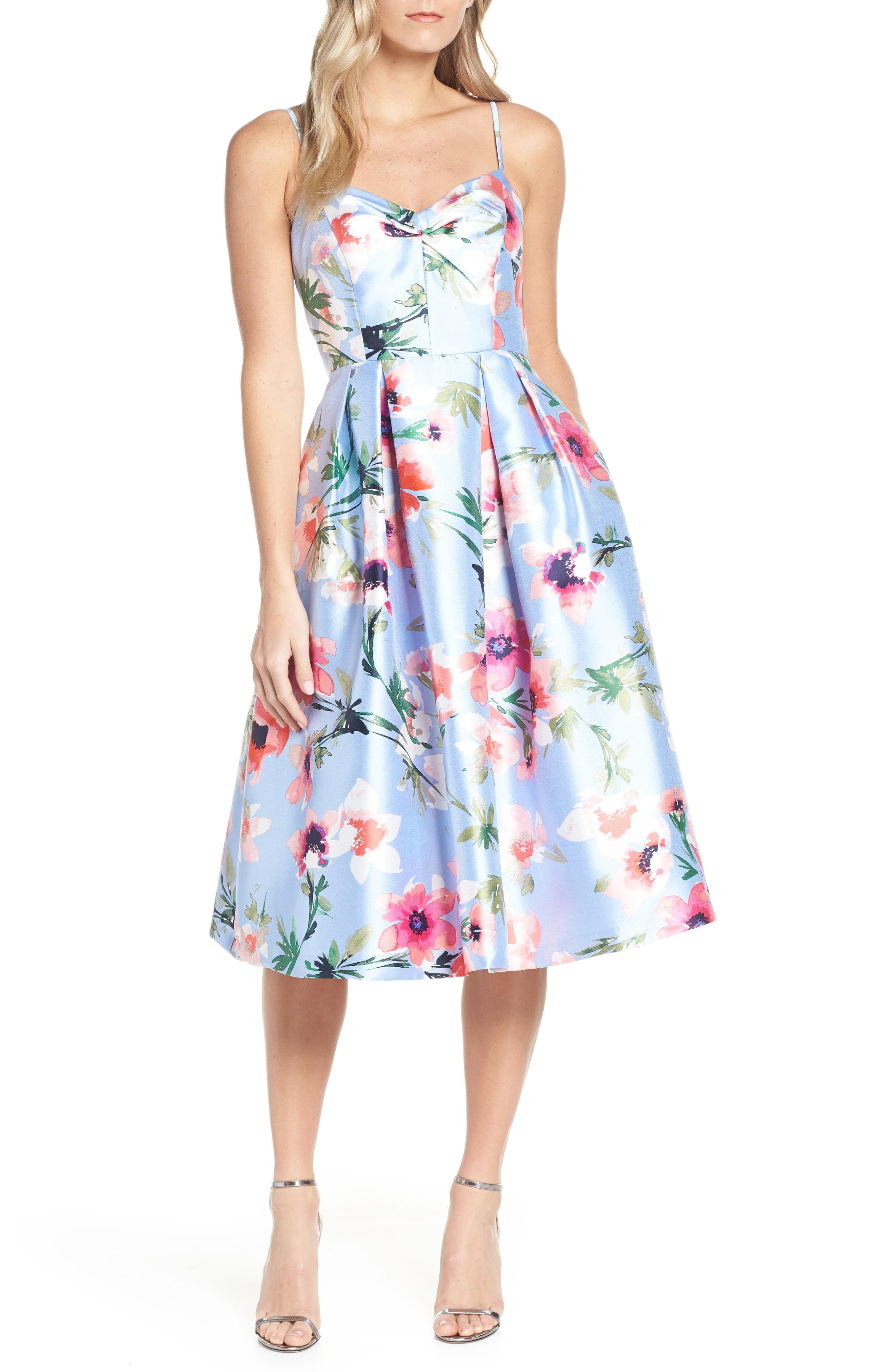 8d1886a3 Eliza J Floral Print Satin Cocktail Dress In Blue | ModeSens