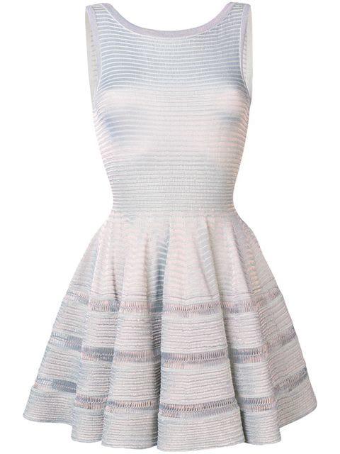 Alaïa Lurex Knit Flared Dress In Silver