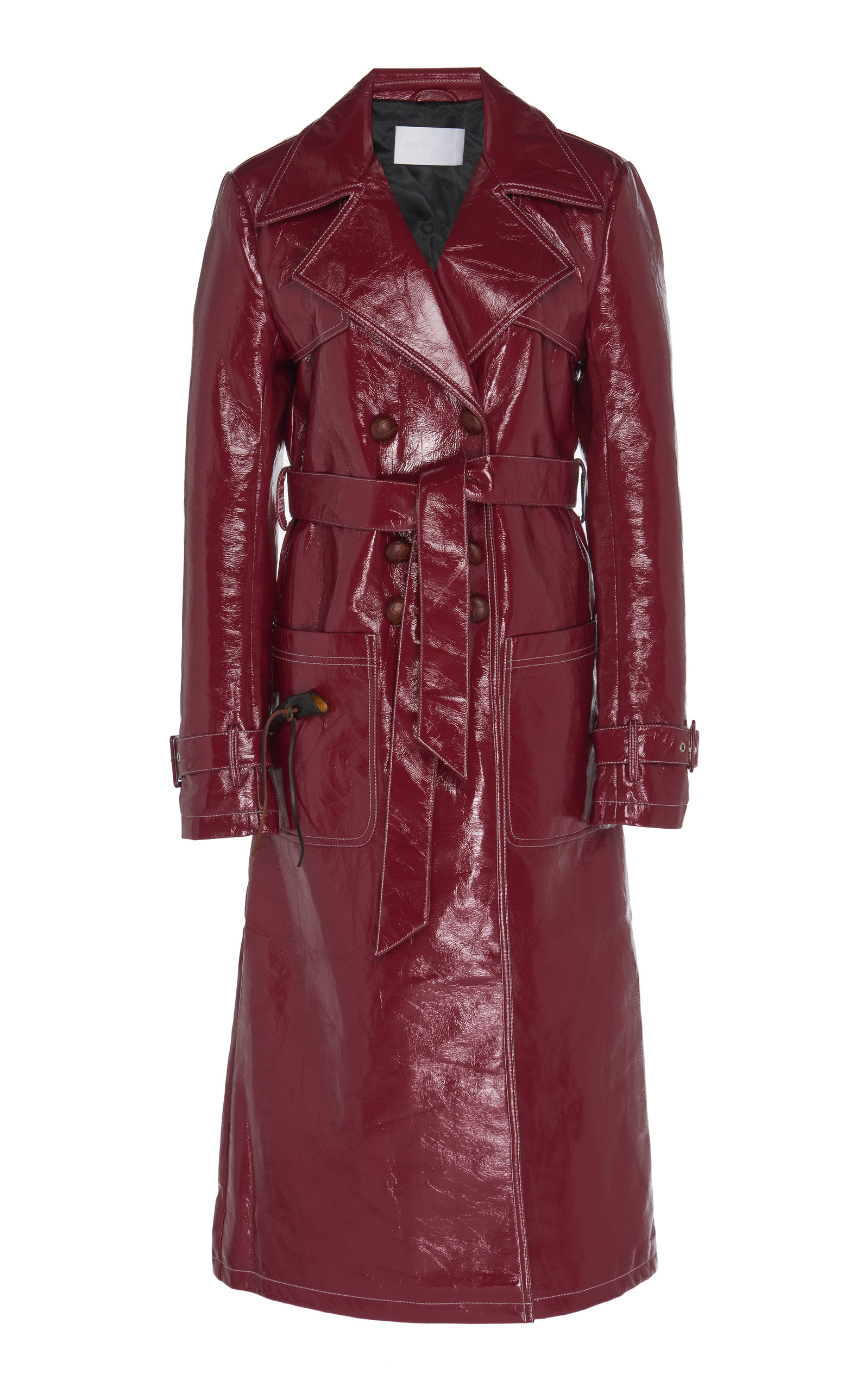 Peet Dullaert Vinyl Leather Trench Coat In Burgundy Modesens