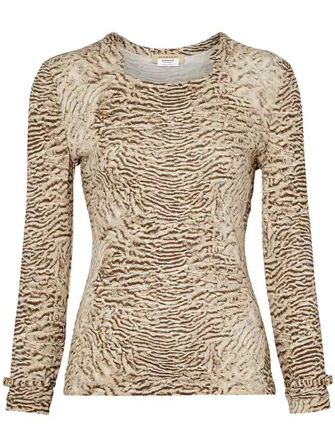 Burberry Animal Print Long-Sleeve Square Neck Top In Neutrals