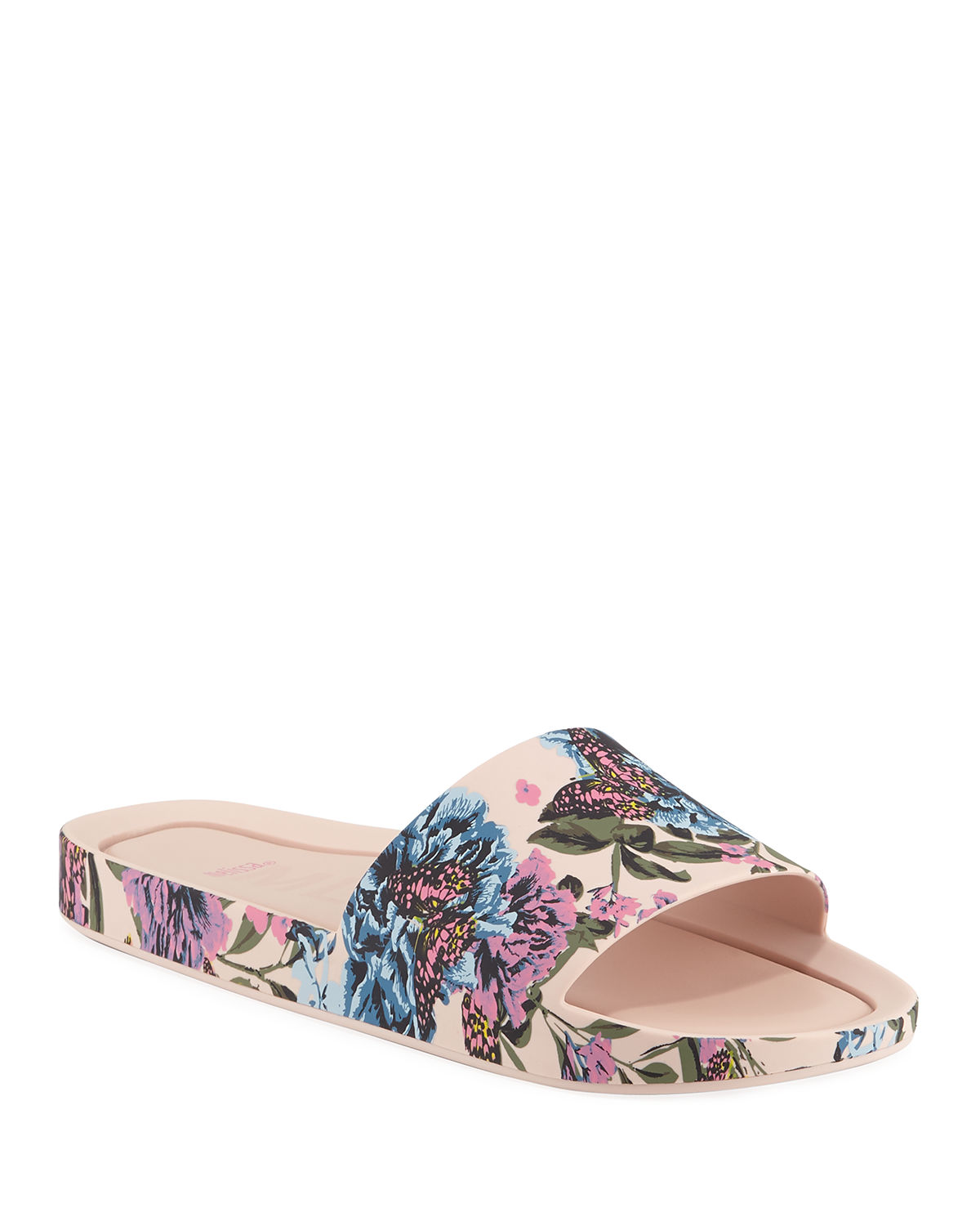 80f114c7e Melissa Beach Floral Pvc Slide Sandals In Pink Blue