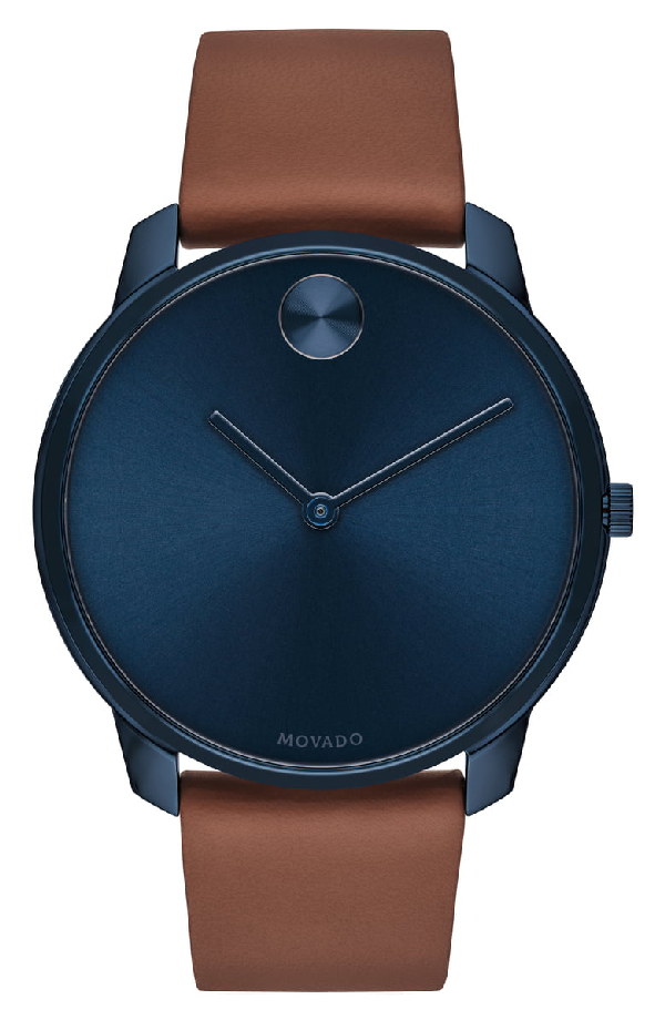 f0e8b2197 Movado Men's Bold Watch With Leather Strap In Brown/ Blue | ModeSens