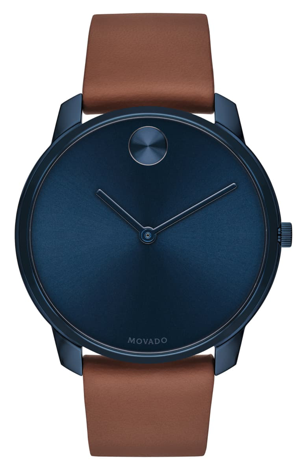 Movado Bold Thin Leather Strap Watch, 42mm In Brown/ Blue