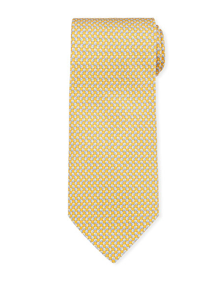 Salvatore Ferragamo Geometric Silk Tie In Yellow