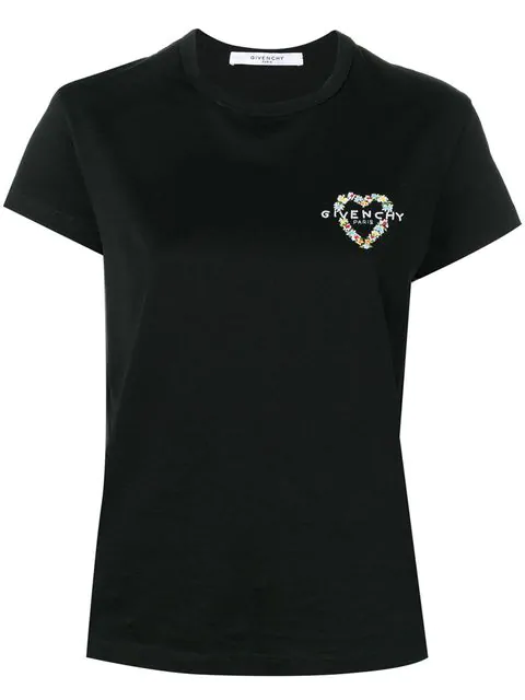 Givenchy Heart Logo-Embroidered Cotton-Jersey T-Shirt In Black