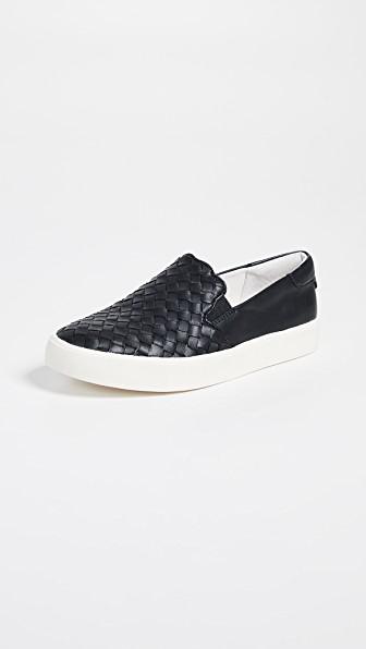 Eda Woven Leather Black Slip Sneakers Women's On In tQdhrsC