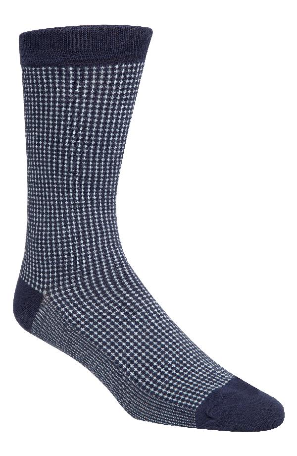 Cole Haan Micro-patterned Socks In Marine Blue