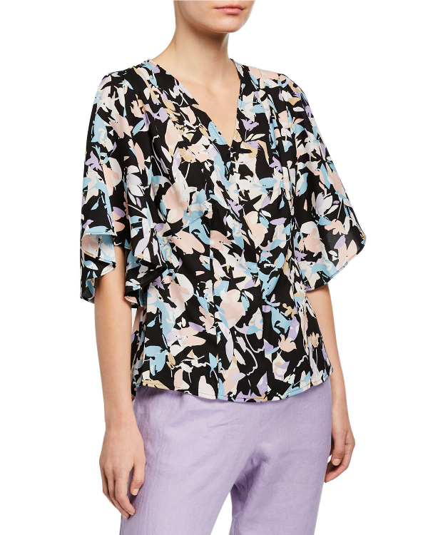 Dkny Donna Karan New York Floral-Printed Bell-Sleeve Top In Black/Pink