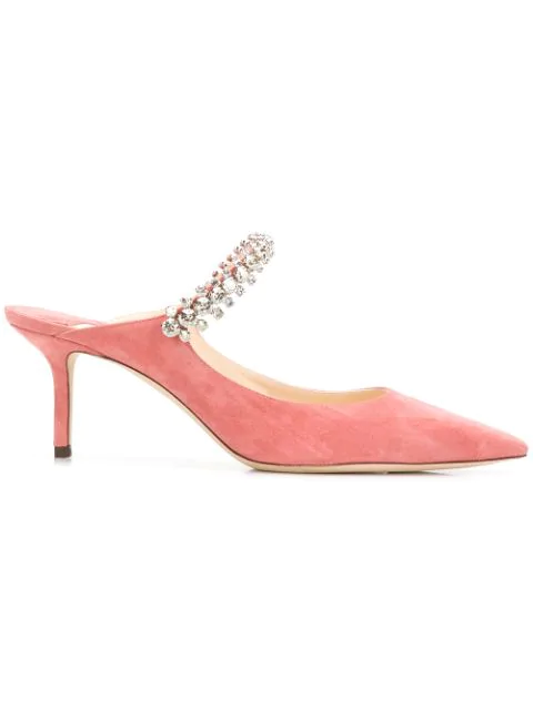 Jimmy Choo Bing 65 Rosewood Suede Mules With Crystal Strap In Pink