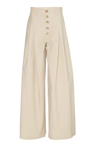Jw Anderson High-rise Wide-leg Cotton Pleated Trousers In Neutral