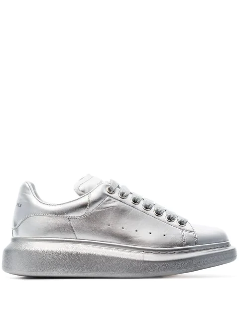 Alexander Mcqueen Metallic Leather Exaggerated-Sole Sneakers In Silver