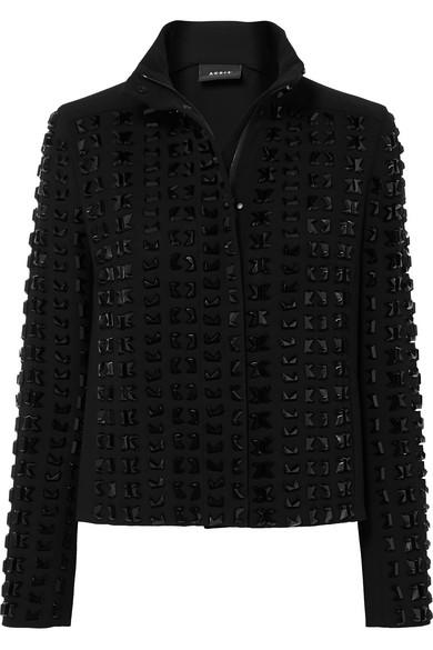 Akris Andorra Embellished Wool-Blend Crepe Jacket In Black
