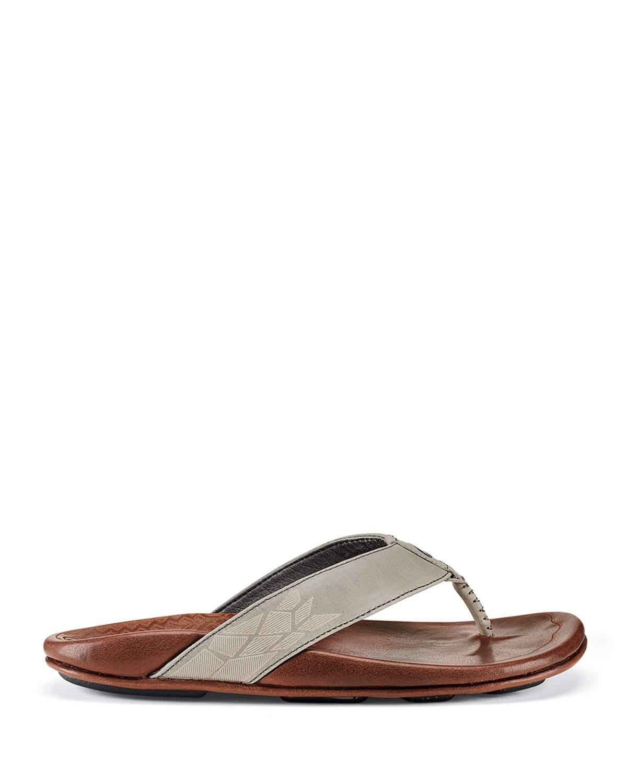 Olukai Men's Kulia Leather Thong Sandals In Gray