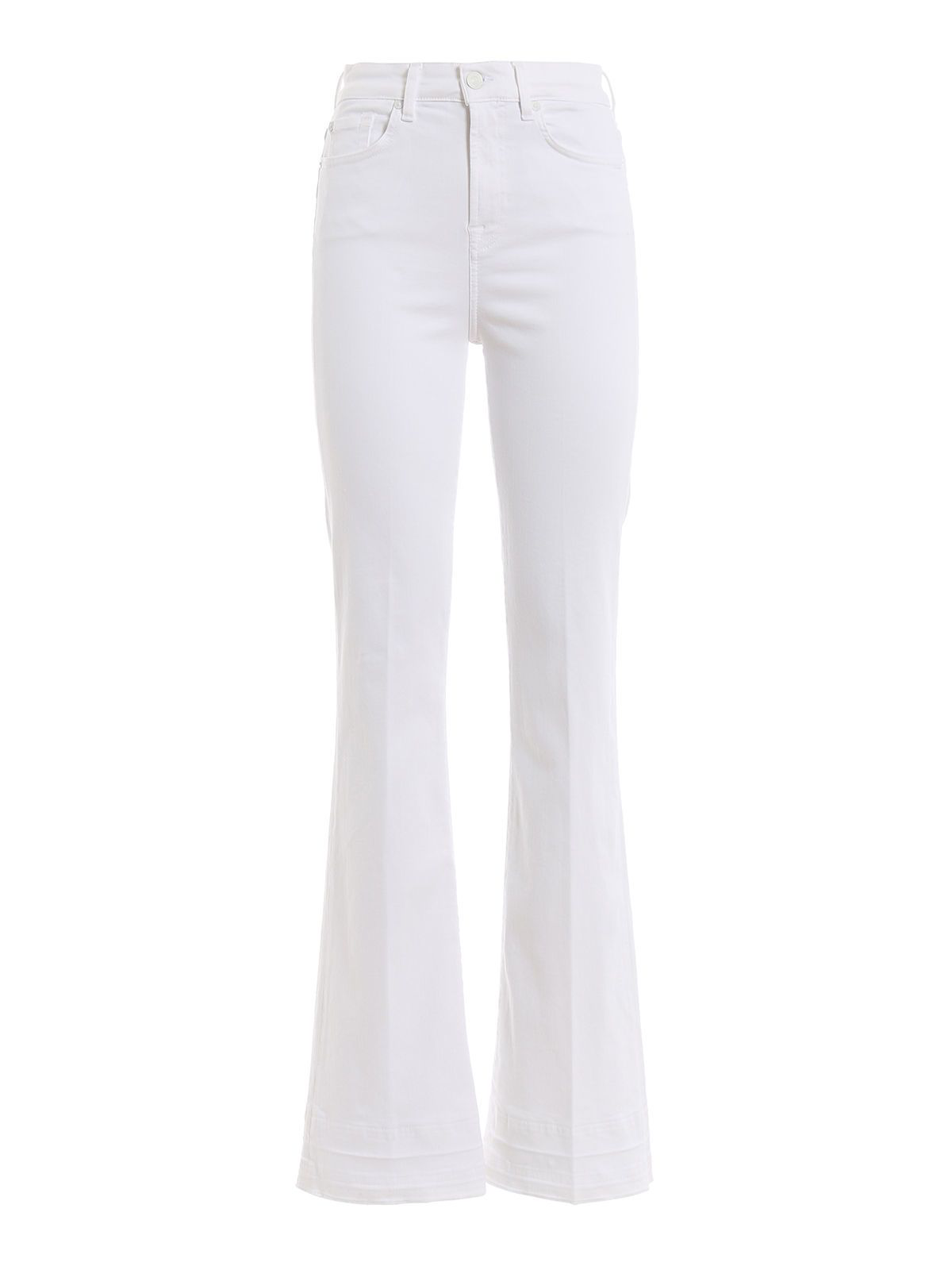 7 For All Mankind Mid Rise Flared Jeans In White