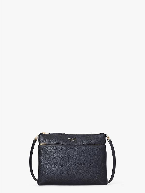 Kate Spade Medium Polly Leather Crossbody Bag In Black