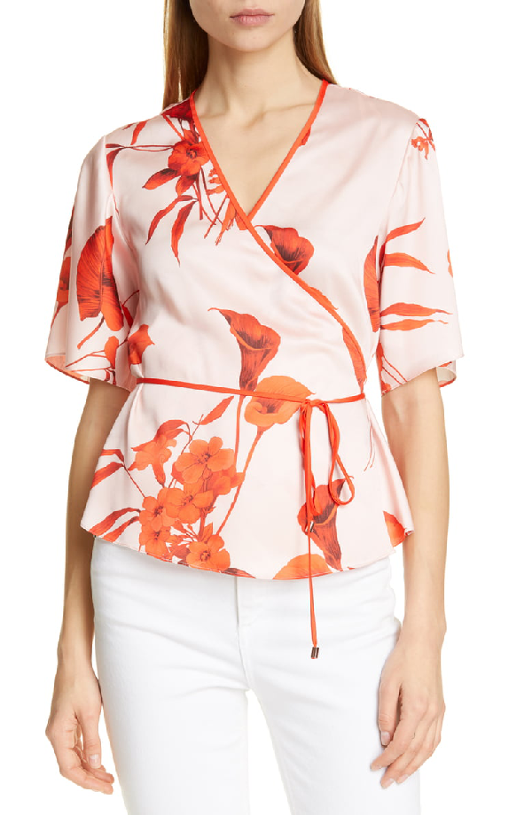 Ted Baker Melonyy Fantasia-Print Wrap Top In Pink