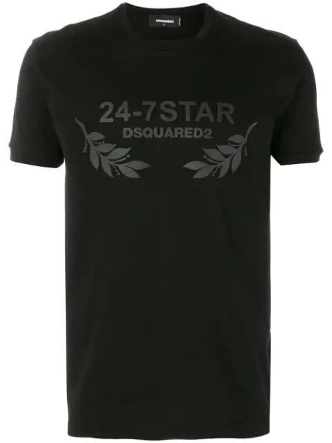 Dsquared2 24-7 Star Black Logo Cotton T-shirt