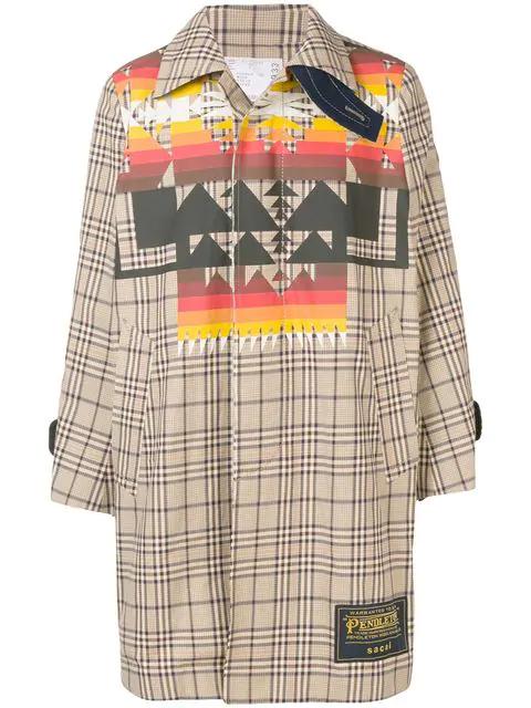 Sacai Pendleton Print Checked Coat In Neutrals