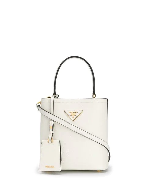 Prada Panier Small Leather Shoulder Bag In White