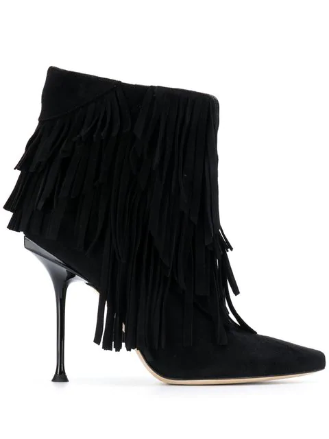Sergio Rossi 105Mm Sr Milano Suede Ankle Boots In Black