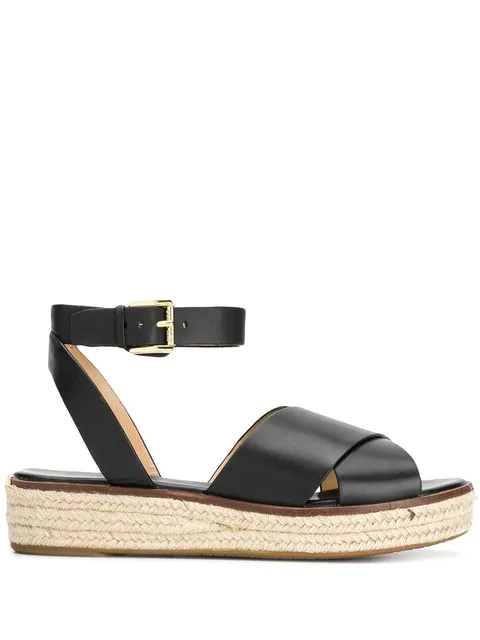 Michael Michael Kors Crossover Strap Sandals In Black