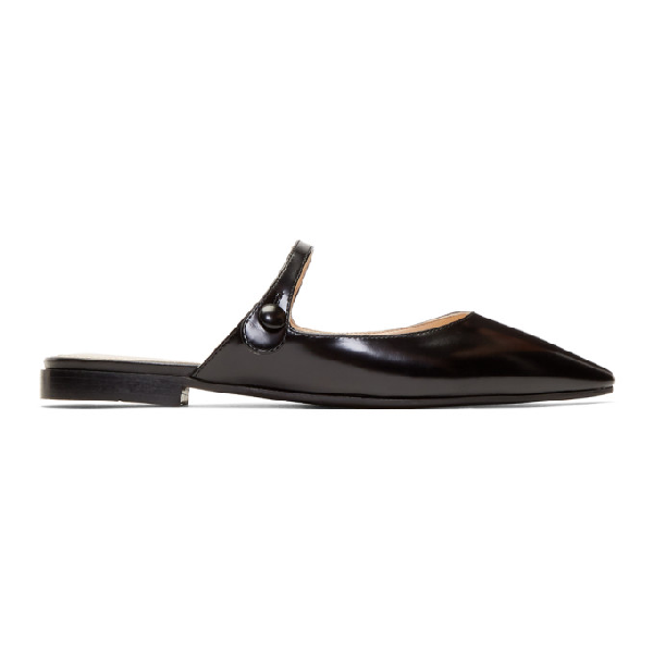 Prada Backless Crocodile-effect Leather Mary-jane Flats In Black