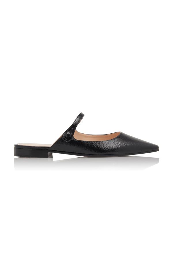 Prada Backless Crocodile-effect Leather Mary-jane Flats In Black
