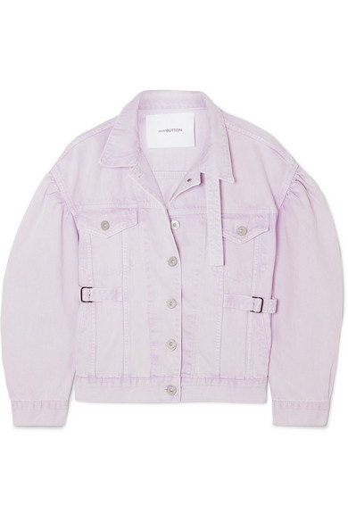 7d2a0c7b3779 Pushbutton Washed Cotton Denim Shirt Jacket In Lilac