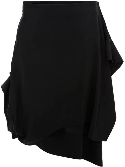 Jw Anderson Asymmetric Skirt With Gathered Cuff In Black