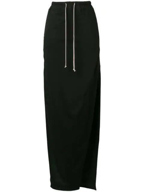 Rick Owens Side-Slit Drawstring Maxi Skirt In Black