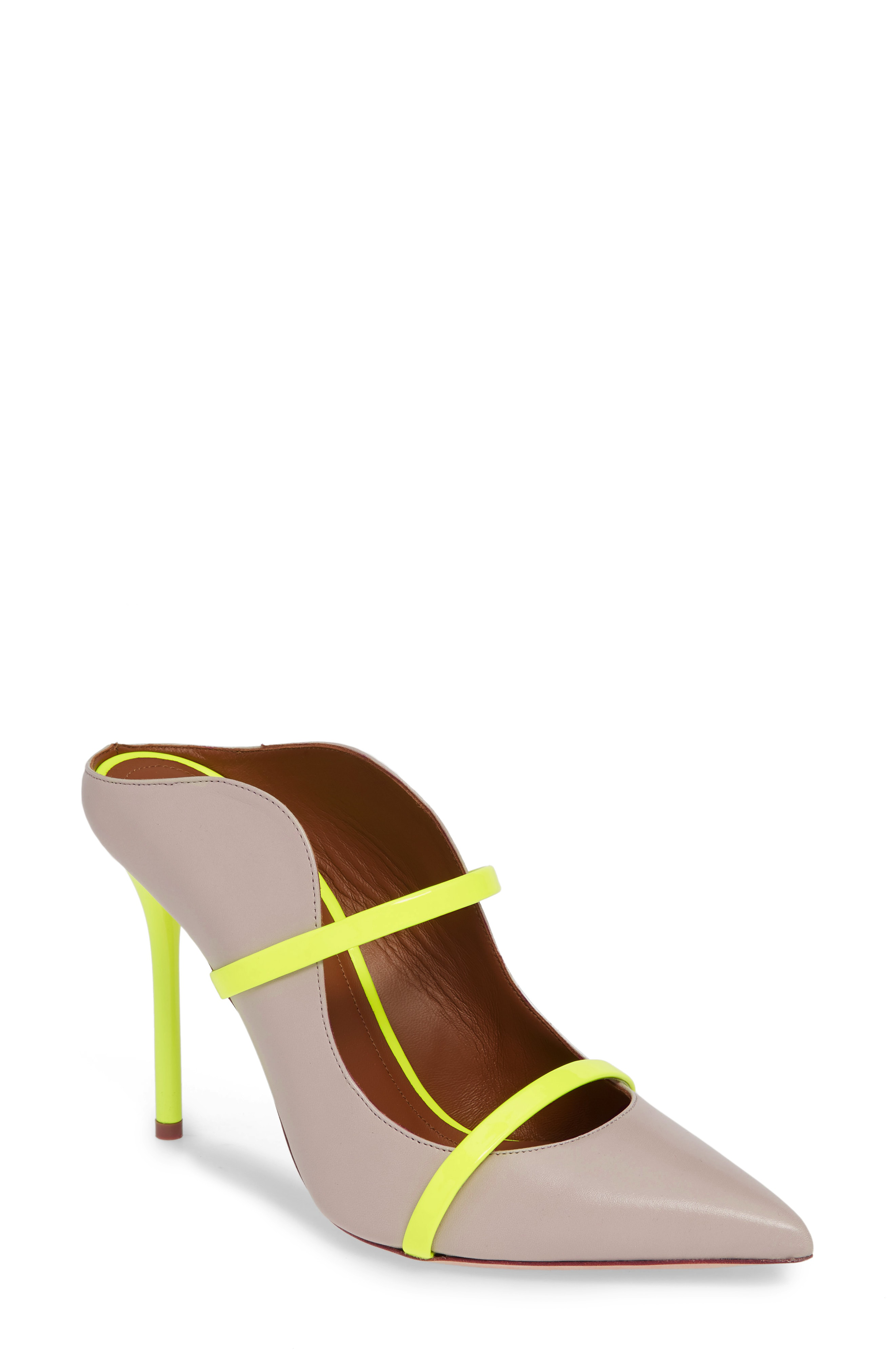 f6b5fa019d02 Malone Souliers Maureen Double Band Mule In Ice  Neon Yellow